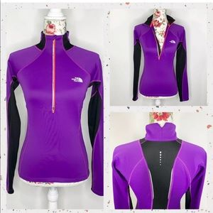 The North Face Flash Dry Purple XS pullover w zips